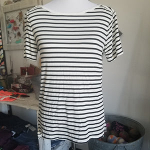 Black and White Striped Basic Tee