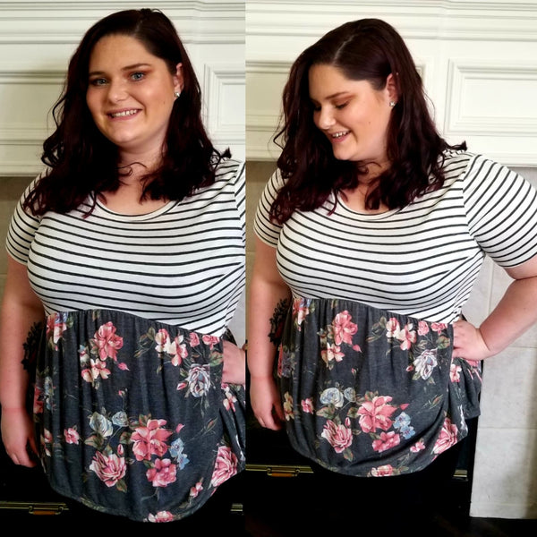 Empire Waist Floral and Stripe