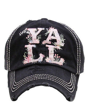 Floral Hey Y'all Low Brow Trucker Hat