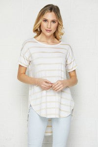 Ivory and Gold Striped Tunic