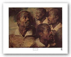 Four Negro Heads by Sir Peter Paul Rubens