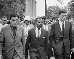 James Meredith First African American Student at University of Mississippi with US Marshals 1962 by McMahan Photo Archive