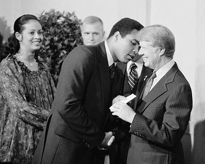 Muhammad Ali and President Jimmy Carter Washington DC 1977 by McMahan Photo Archive