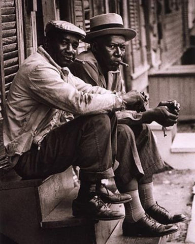 African American Men Sitting on Stoop, Charleston, SC, 1962 by McMahan Photo Archive