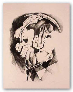 Black Coal Miner - Stone Lithograph by David Wilson