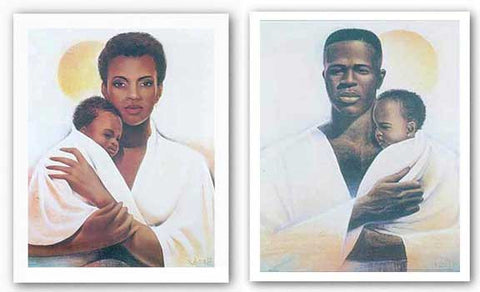 Father and Child and Mother and Child Set by Keith Mallett