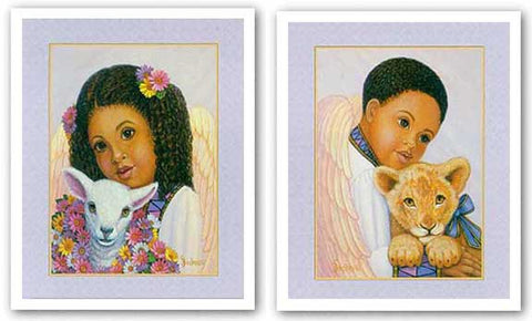 Boy Angel with Lion Cub-Girl Angel with Lamb Set by Gretchen Barker