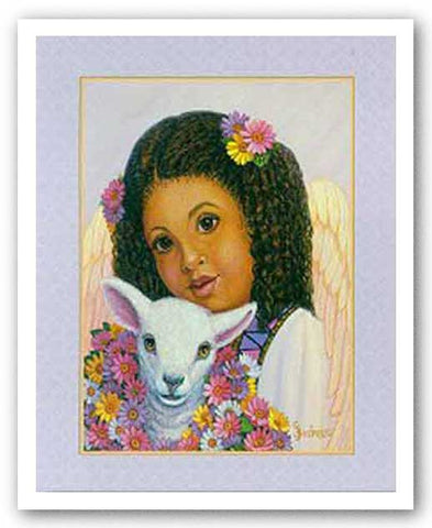 Girl Angel with Lamb by Gretchen Barker