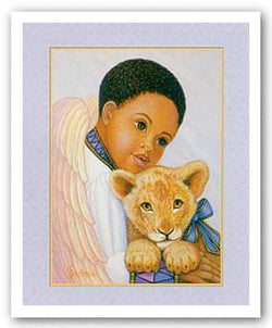 Boy Angel with Lion Cub by Gretchen Barker