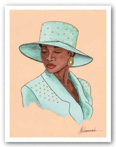 Hattitude - Lady in Pale Green by Marcella Hayes Muhammad