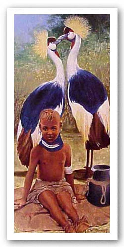 Turkana Child with Crown Cranes by Cal Massey