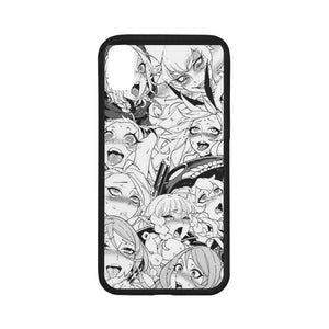 Ahegao Rubber Case for iPhone X (with Hard Plastic Back)