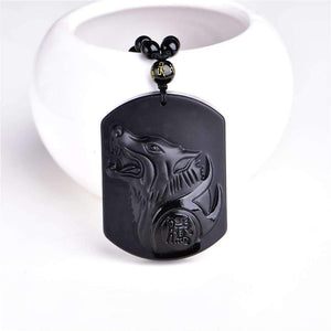 Natural, Black Obsidian Wolf Blessing Amulet