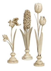 "Standing Flowers (Set of 3) 16"", 18"", 22""H Resin"
