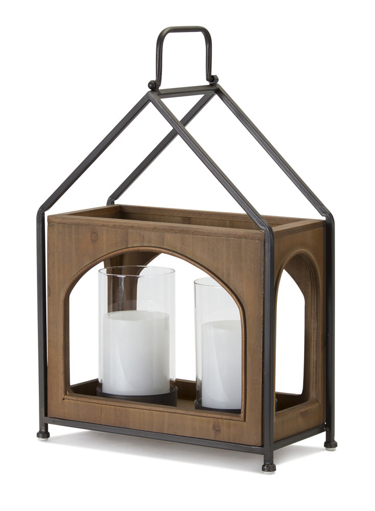 "Double Lantern 11.75"" x 16""H Wood/Iron"