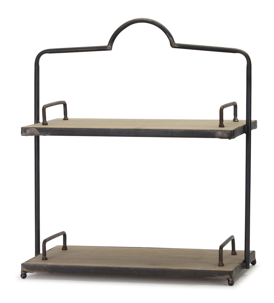 "Double Shelf 16.5"" x 19""H Iron/Wood"