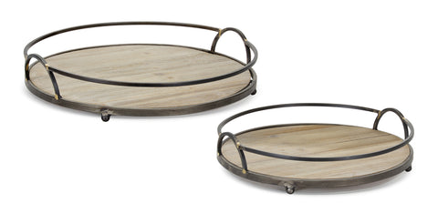 "Tray (Set of 2) 14""D, 16.75""D Iron/Wood"