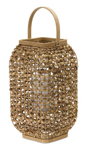 "Lantern 21.5""H Wicker/Glass"