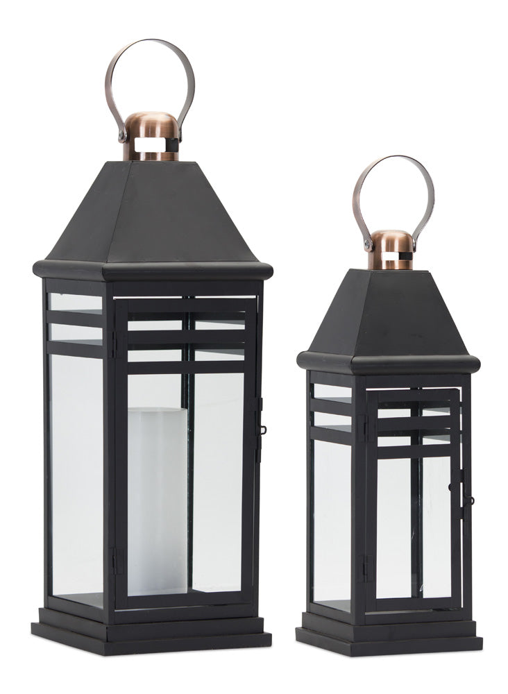 "Lantern (Set of 2) 16.25""H, 20.5""H Metal/Glass"