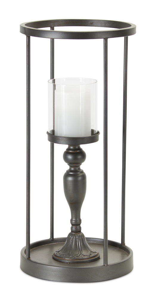 "Candle Holder 9.25""W x 19.75""H Iron/Glass"