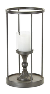 "Candle Holder 9.25""D x 17.75""H Iron/Glass"