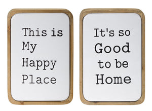 "Sign (Set of 2) 8"" x 12""H Iron/Wood"