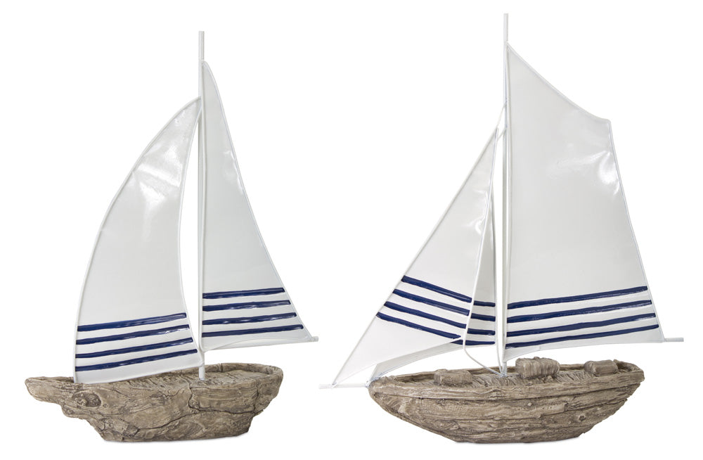 "Sail Boat (Set of 2)  14""H, 14.5""H Metal/Resin"