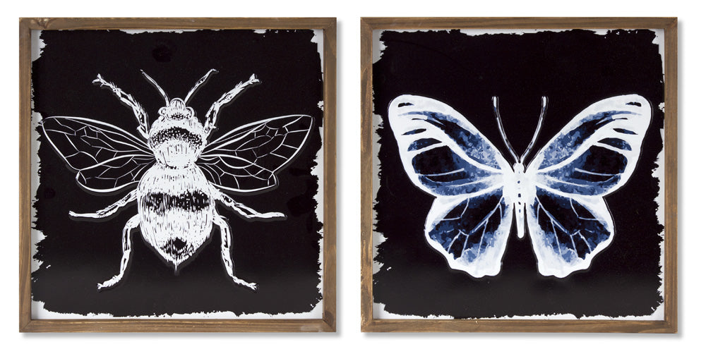 "Framed Bee/Butterfly Print (Set of 2) 12"" x 12""H Wood/Metal"
