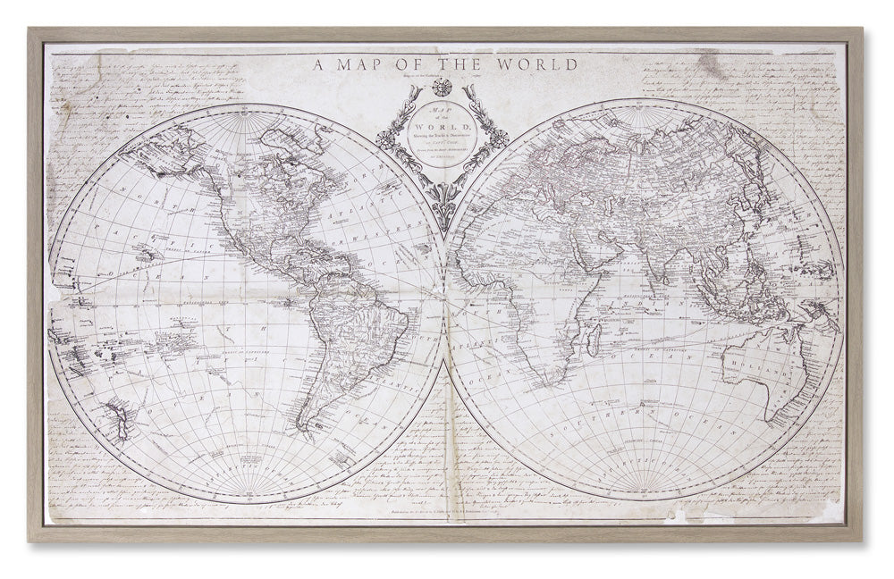 "Framed World Map 31"" x 19""H Plastic/MDF"