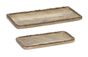 "Tray (Set of 2) 14""L, 17.5""L Wood"