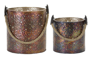 "Pail (Set of 2) 6.5""H, 8""H Iron"