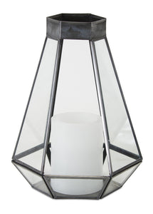 "Lantern Candle Holder 6.5""W x 10""H Glass/Iron"