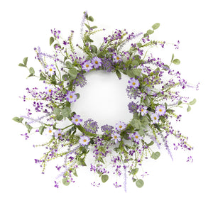 "Mini Floral Wreath 18""D Polyester/Plastic"