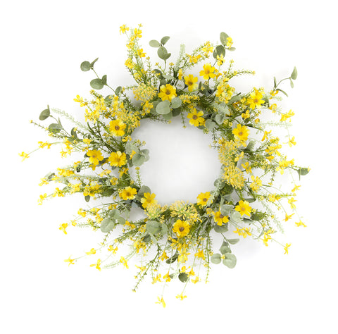 "Mini Floral Wreath 20""D Polyester/Plastic"