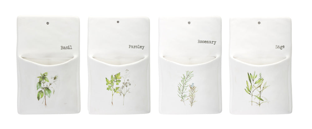 "Herb Wall Pocket (Set of 4) 5.25"" x 8.5""H Ceramic"