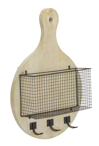 "Wall Basket with Hooks 15.5"" x 23""H Wood/Iron"