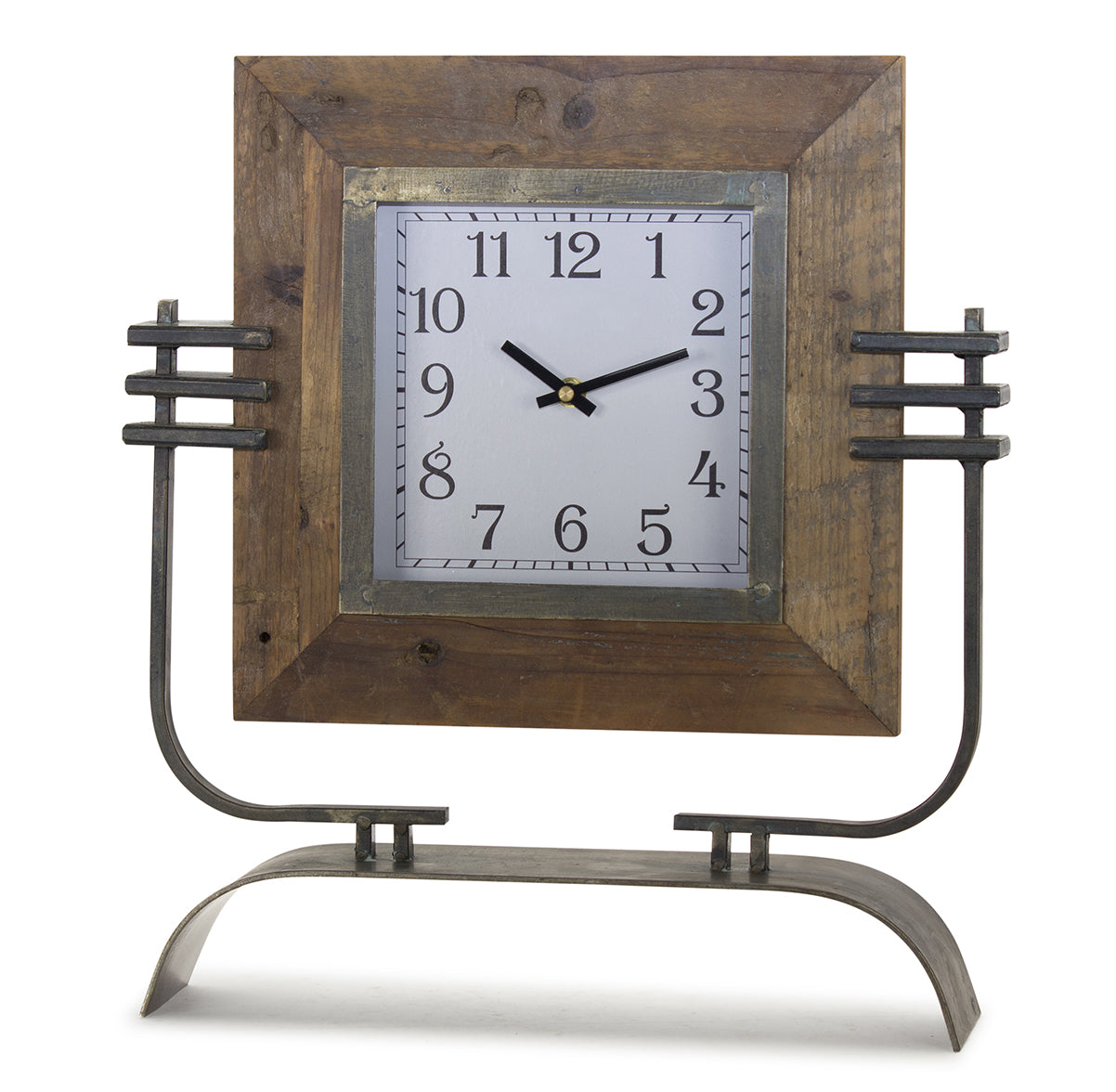 "Clock On Stand 15"" x 17.5""H Iron/Wood"