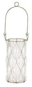 "Hanging Vase (Set of 2) 4"" x 7.5""H Glass/Iron"