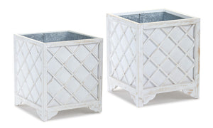 "Container (Set of 2) 14.75"" x 17.5""H, 18.75"" x 21.5""H Zinc/Wood"