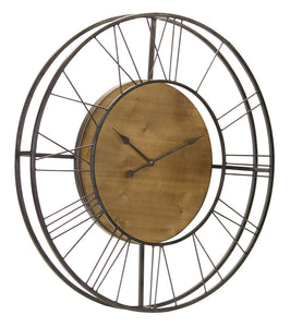 "Wall Clock 35.5""D Iron/Wood"