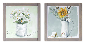 "Framed Floral Print (Set of 2) 13.25"" x 13.25""H MDF/Glass"