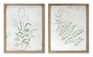 "Fern/Floral Print (Set of 2) 19.5"" x 23.5""H Iron/Wood"
