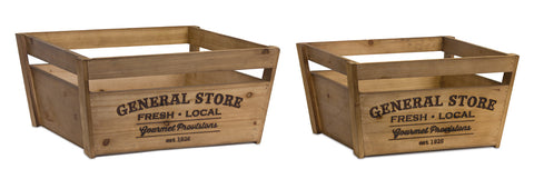 "Crate (Set of 2) 16.75"" x 8.75""H, 19"" x 9.25""H Wood"