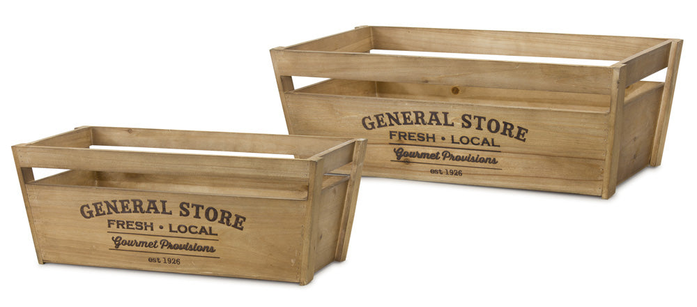 "Crate (Set of 2) 23.25"" x 8.75""H, 26.5"" x 9.25""H Wood"