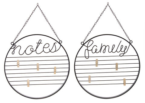 "Family/Notes Board (Set of 2) 15.75""D Iron"