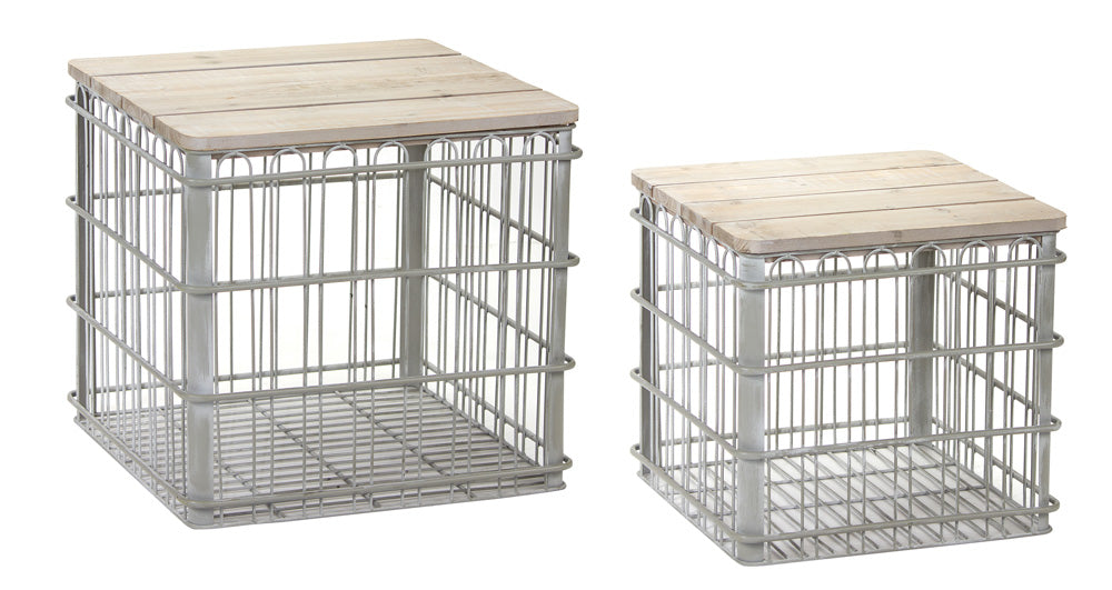 "Crate With Lid (Set of 2) 16""H, 19""H Iron/Wood"