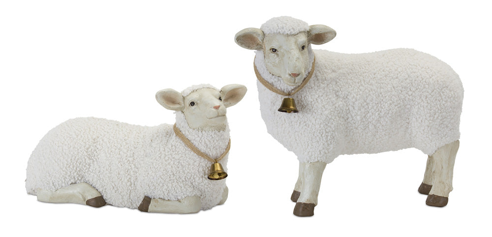 "Lamb (Set of 2) 17"" x 9.5""H, 19"" x 15""H Stone Powder"