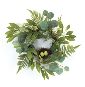 "Mixed Foliage W/Nest Wreath 21""D Polyester"