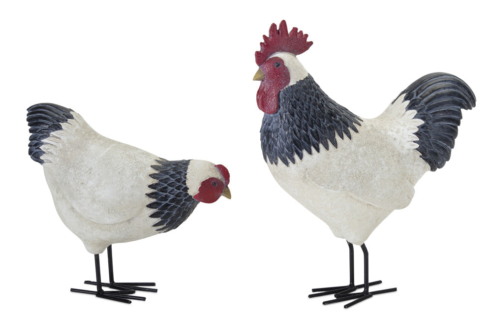 "Chicken (Set of 2) 8""H, 12""H Resin/Metal"