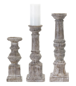 "Candle Holder (Set of 3) 12""H, 16""H, 19""H Resin/Stone Powder"